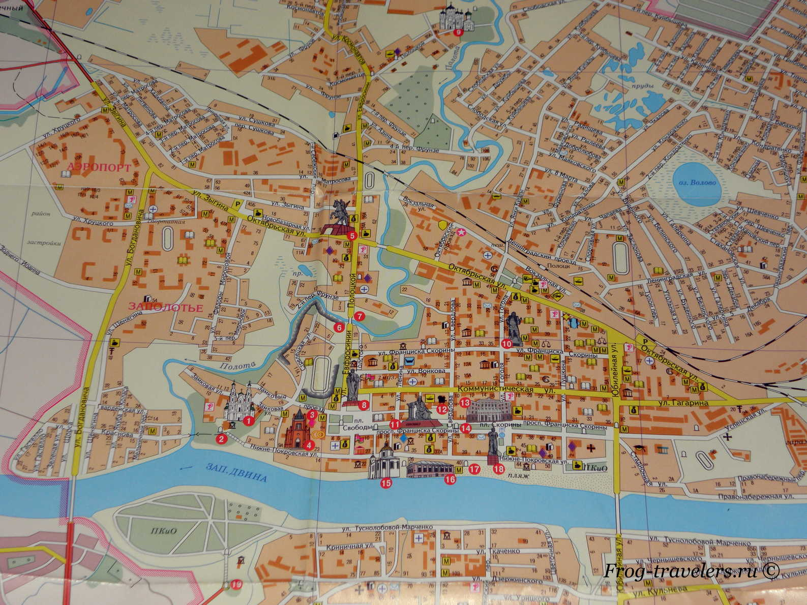 Карта Полоцка. Достопримечательности Полоцка на карте