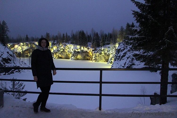 Подсветка в Рускеале зимой