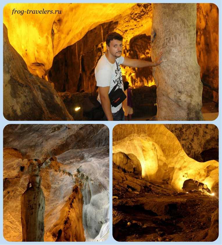 Сталактиты и сталагмиты в пещерах Бату