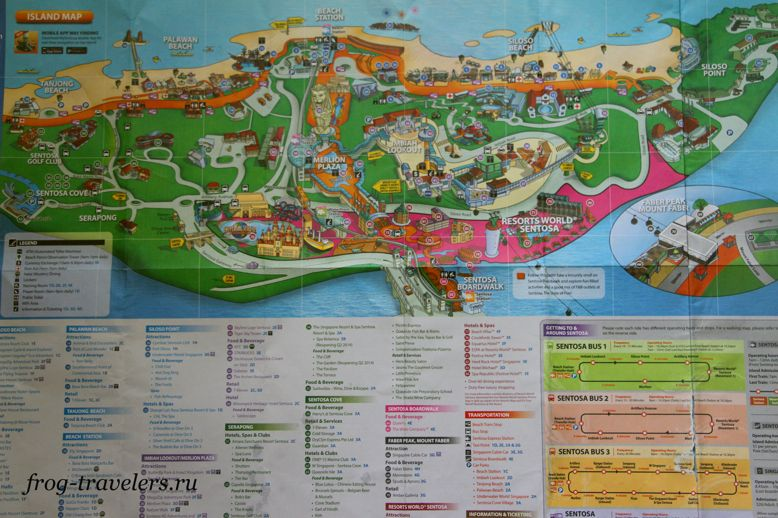 Достопримечательности остров Сентоза на карте