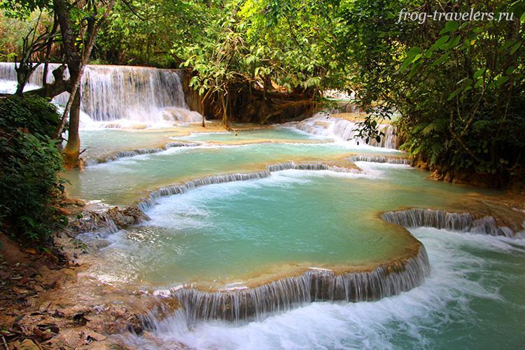 Tad Kuang Si Waterfall Луанг-Прабанг Лаос фото