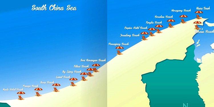 Пляжи Брунея на карте