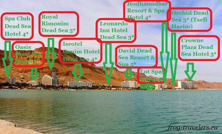 Карта отелей Мертвого моря