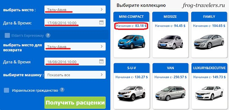Стоимость проката авто в Израиле