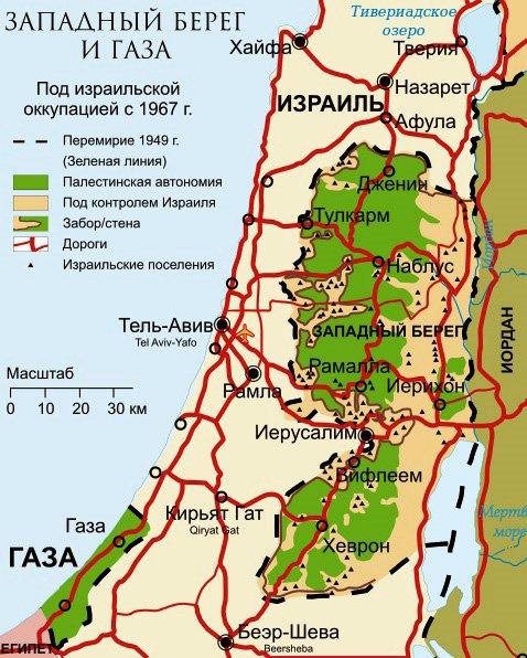 Карта Палестины