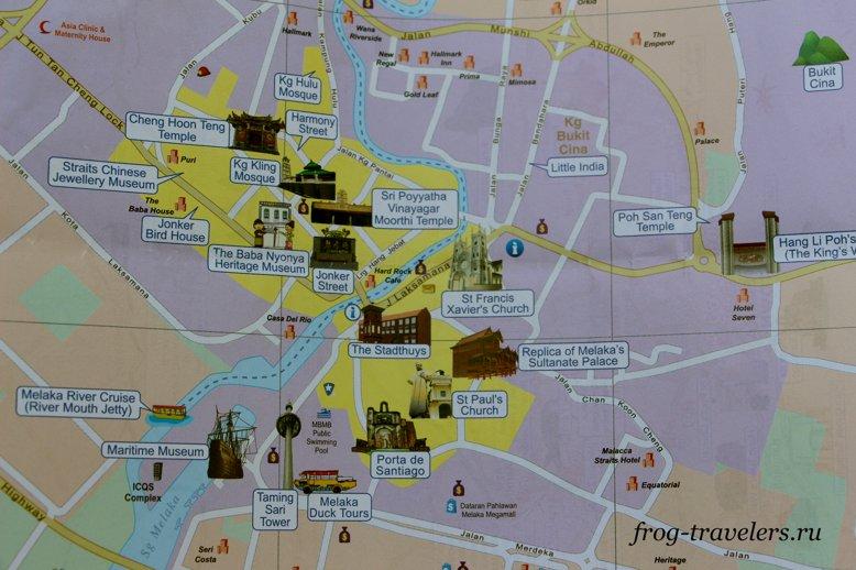 Достопримечательности Малакки на карте
