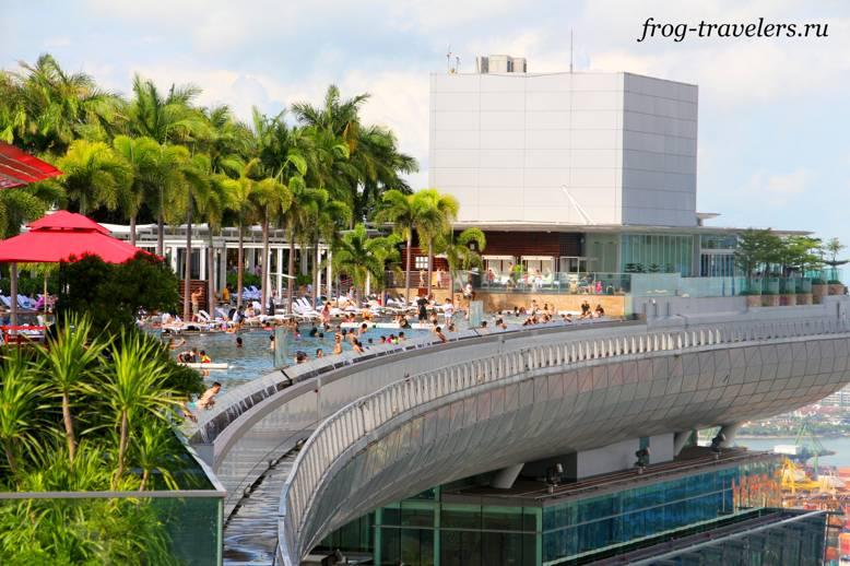 Бассейн на крыше самого дорогого отеля Marina Bay Sands в Сингапуре цена