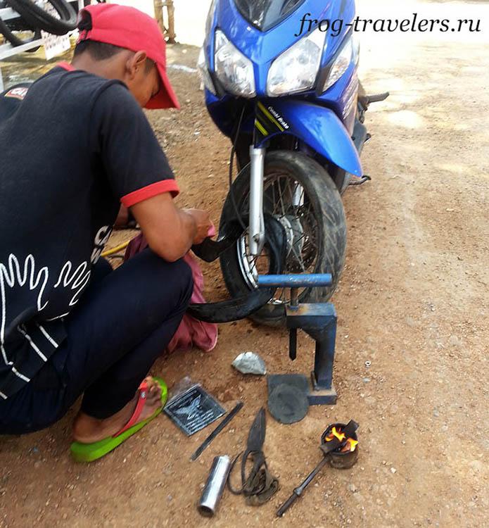 Ремонт колеса (камеры) в Камбодже