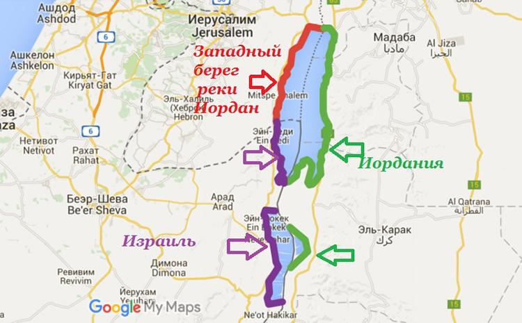 Мертвое море на карте