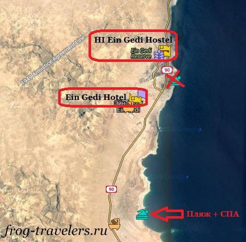 Отели Эйн-Геди на карте