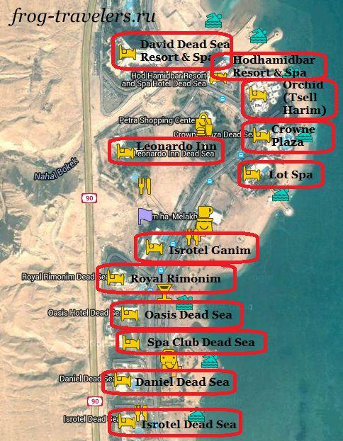 Отели Эйн-Бокек на карте