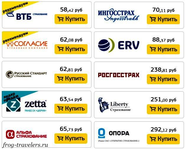 Цены за 1 день мед. страхования при покрытии 30.000€