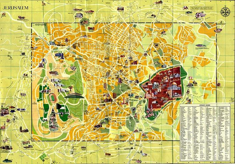 Подробная карта Иерусалима