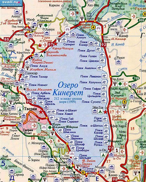 Карта Галилейского моря
